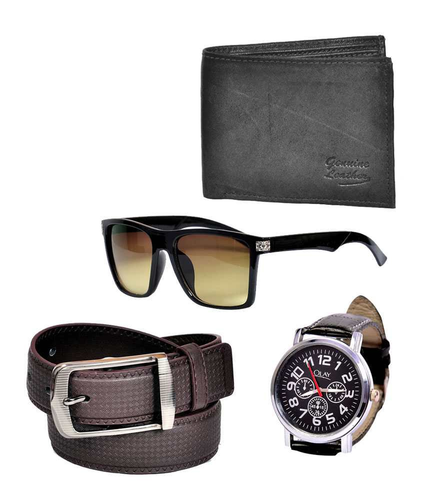 Domestiq Black Leather Casual Belt With Leather Wallet ,stylish Watch & Sunglass - Combo Of 4
