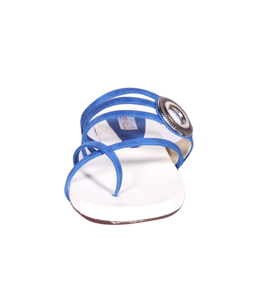 0394099bc9cf ... Foot Step Blue Faux Leather Back Open Round Toe Cross Strap Sandals ...