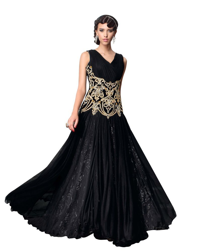 c4178638fc2 Indiweaves Women Net Embroidered Black Dress - Buy Indiweaves Women Net  Embroidered Black Dress Online at Best Prices in India on Snapdeal