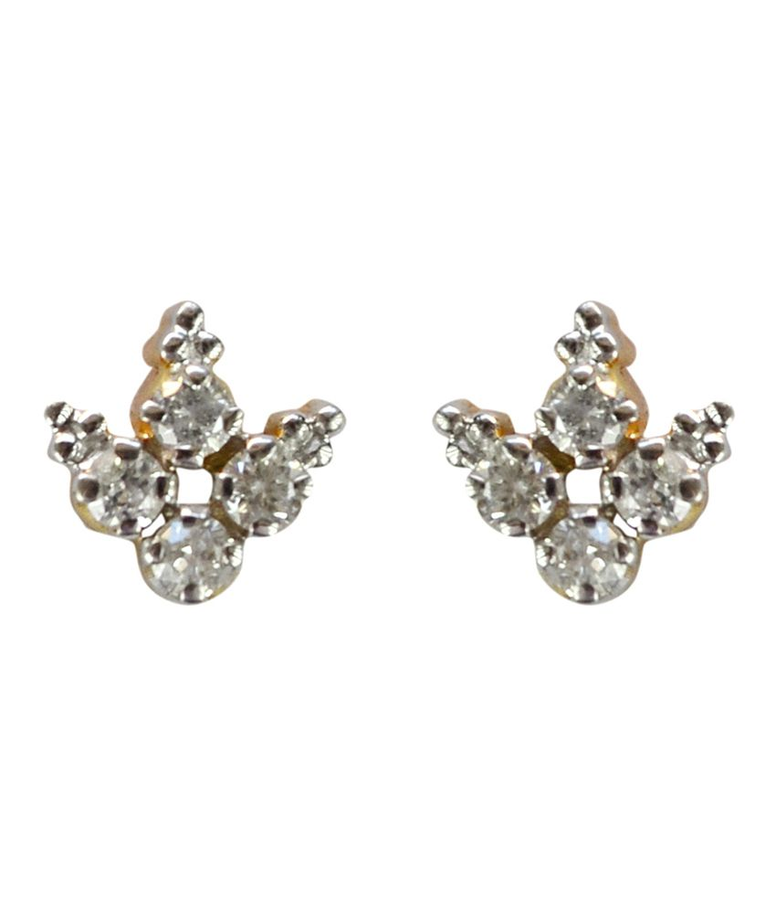 Kataria Jewellers BIS Hallmark 18kt Designer Diamond Stud Earrings