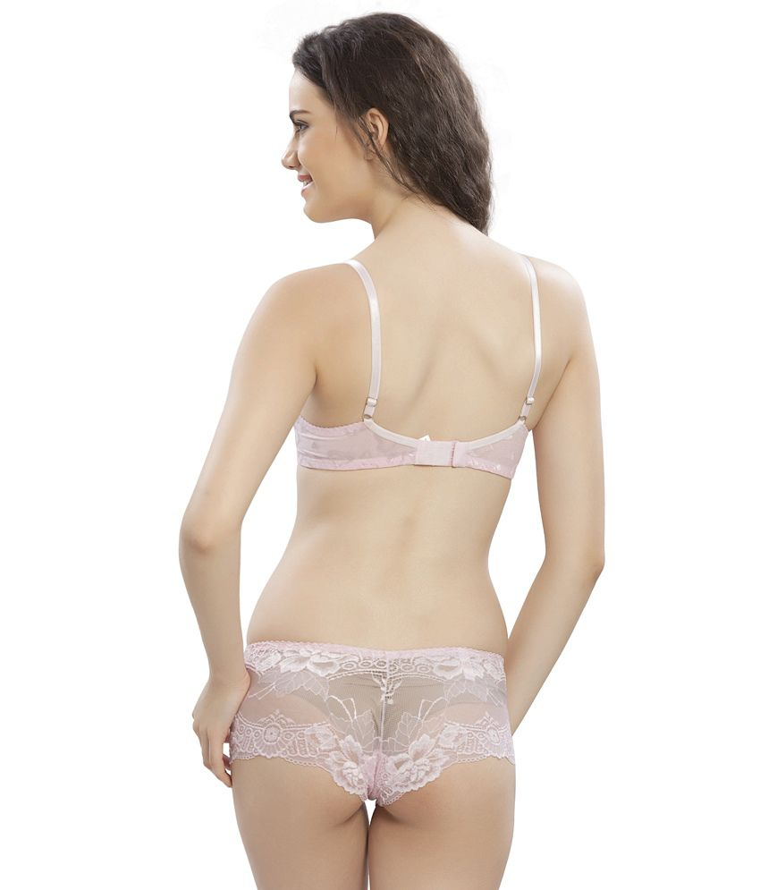 4b82c2987 Buy Lady S Love Pink Net Bra   Panty Sets Online at Best Prices in India -  Snapdeal