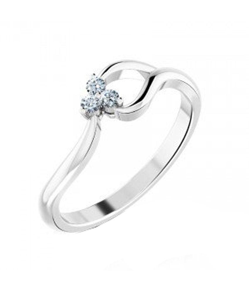 Chandrika Contemporary Silver Diamond Single Ring