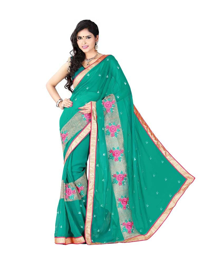 Khoobee Green Faux Chiffon Ready to wear Saree