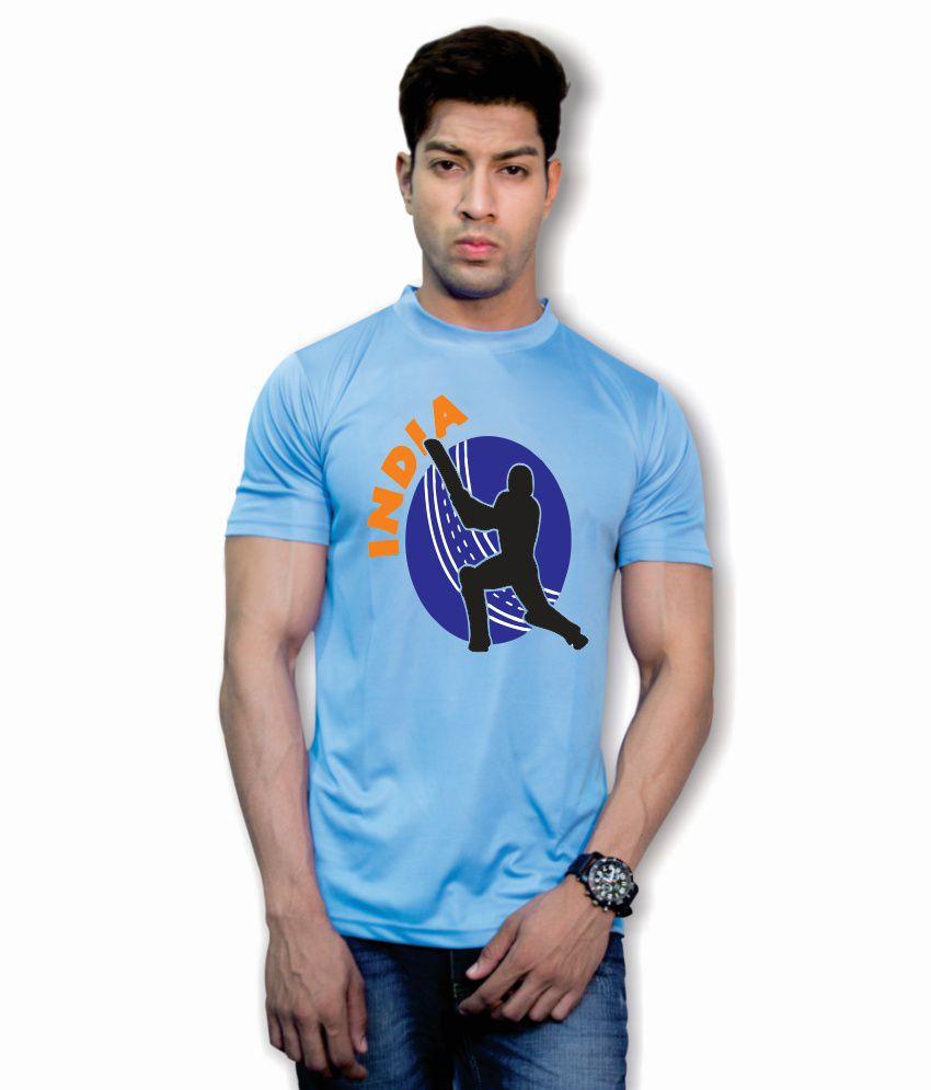 Printland Polyester Blue Printed T Shirt