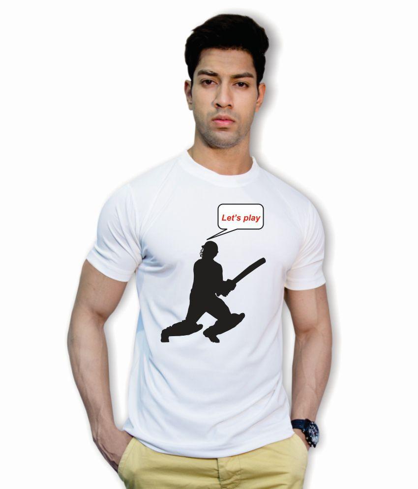Printland Polyester White Printed T Shirt