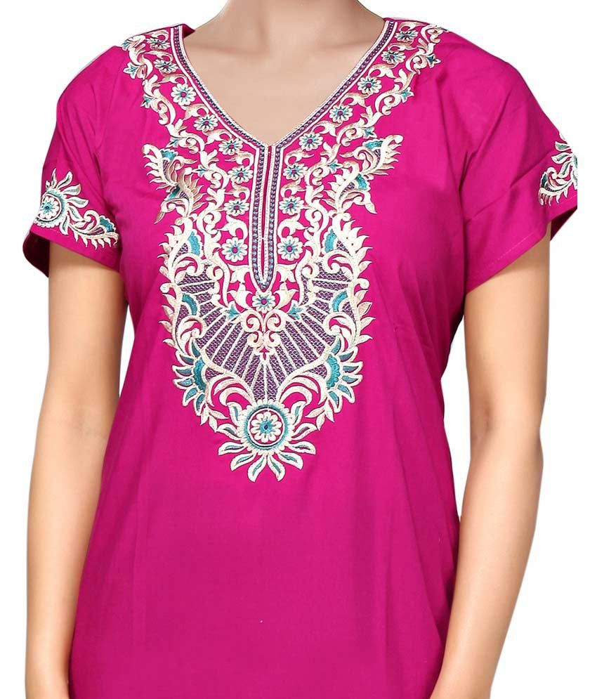 Buy Satyam Pink Embroidered Plain Long Floral Nighty Online At Best