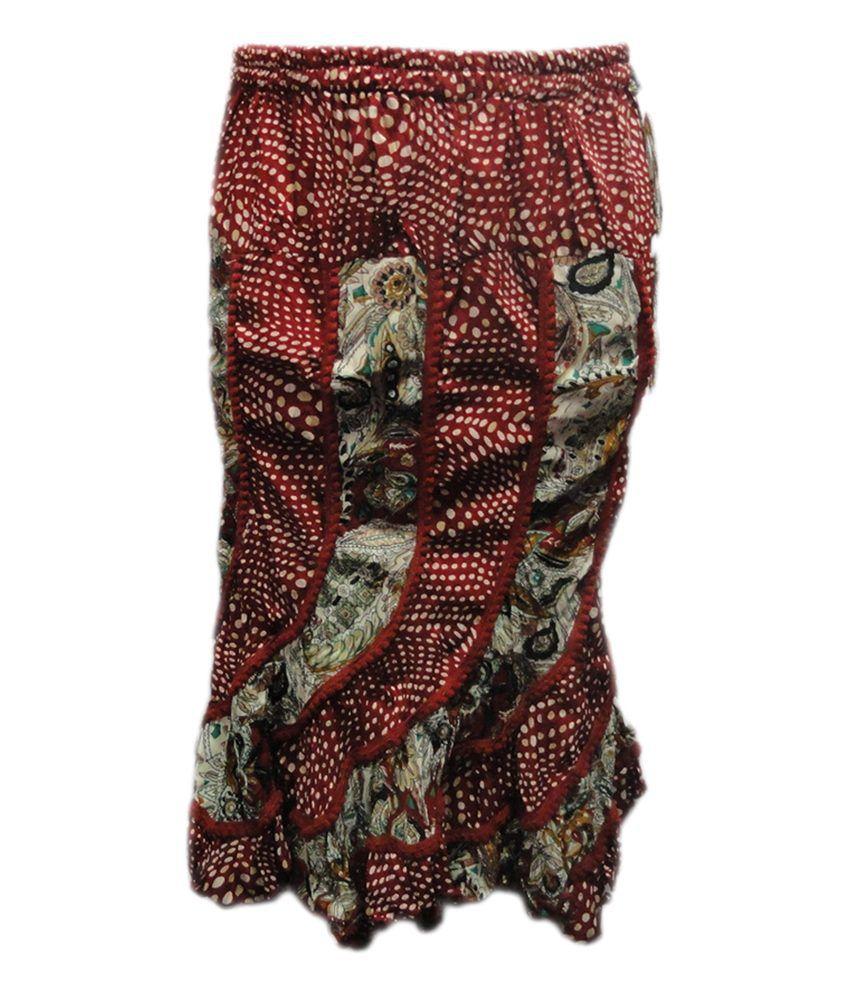 Threads Maroon Cotton Printed Skirt
