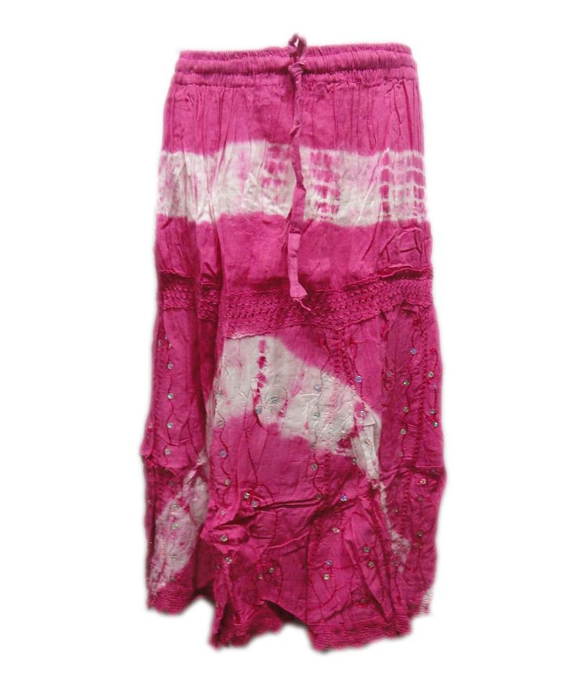 Threads Pink Cotton Printed Skirt