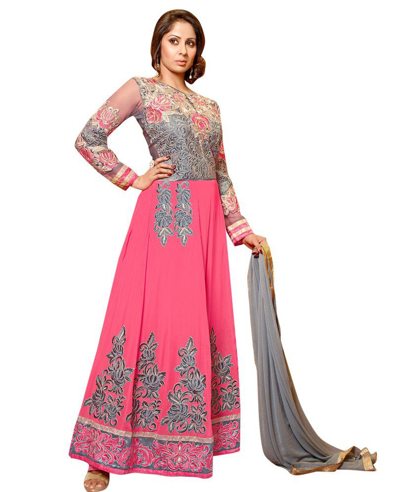 Vibes Pink Georgette Unstitched Dress Material