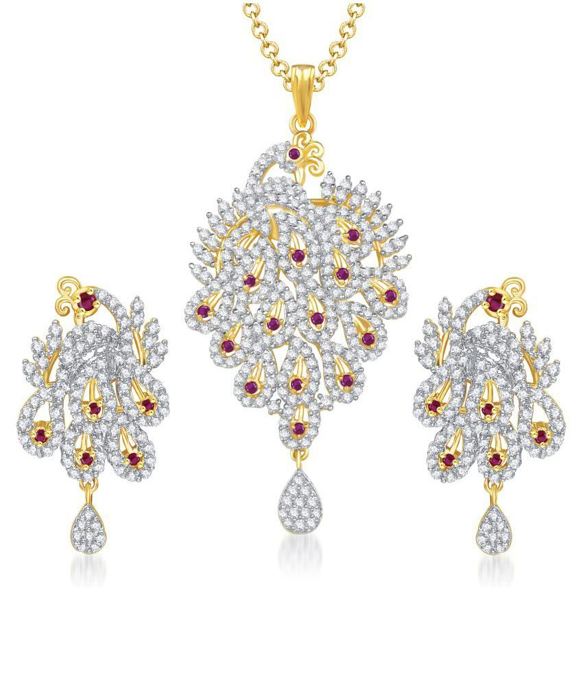 Vk Jewels Style Diva Gold Alloy Contemporary Pendant Set
