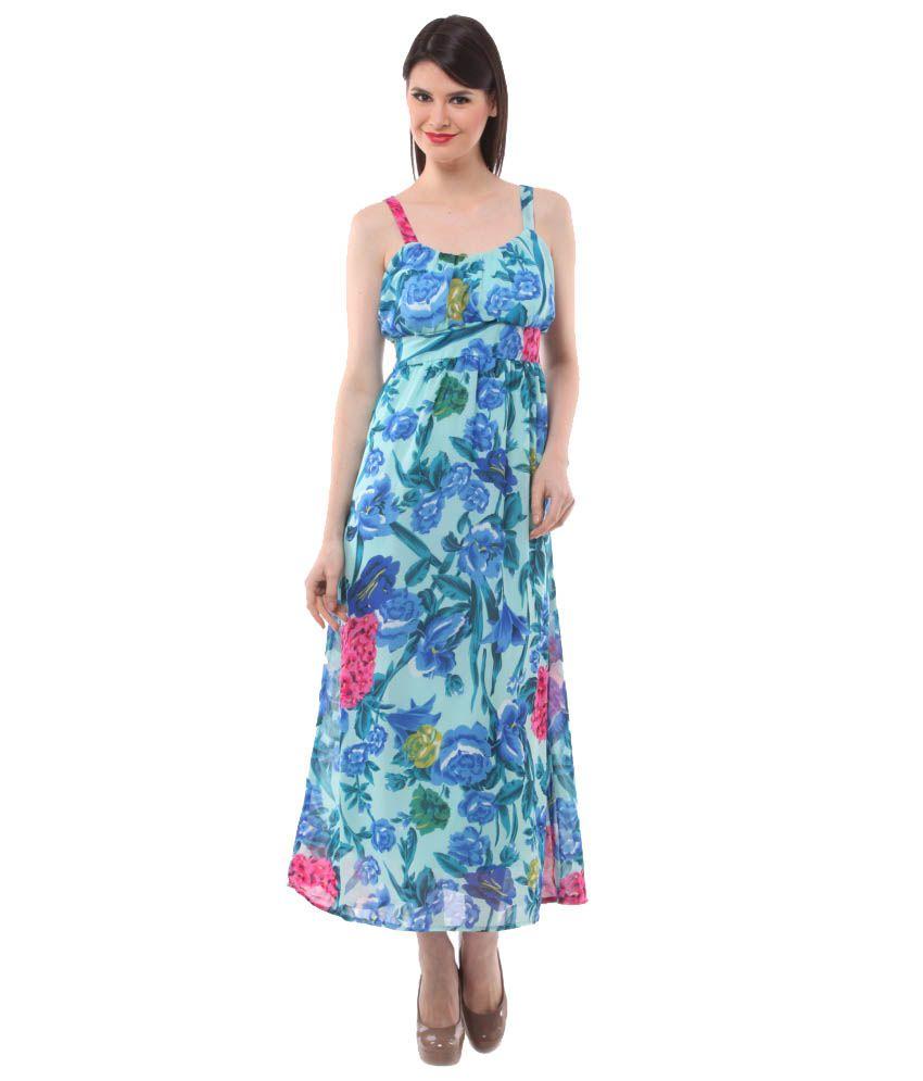 Eyelet Turquoise Georgette Maxi Dress - Buy Eyelet Turquoise ...