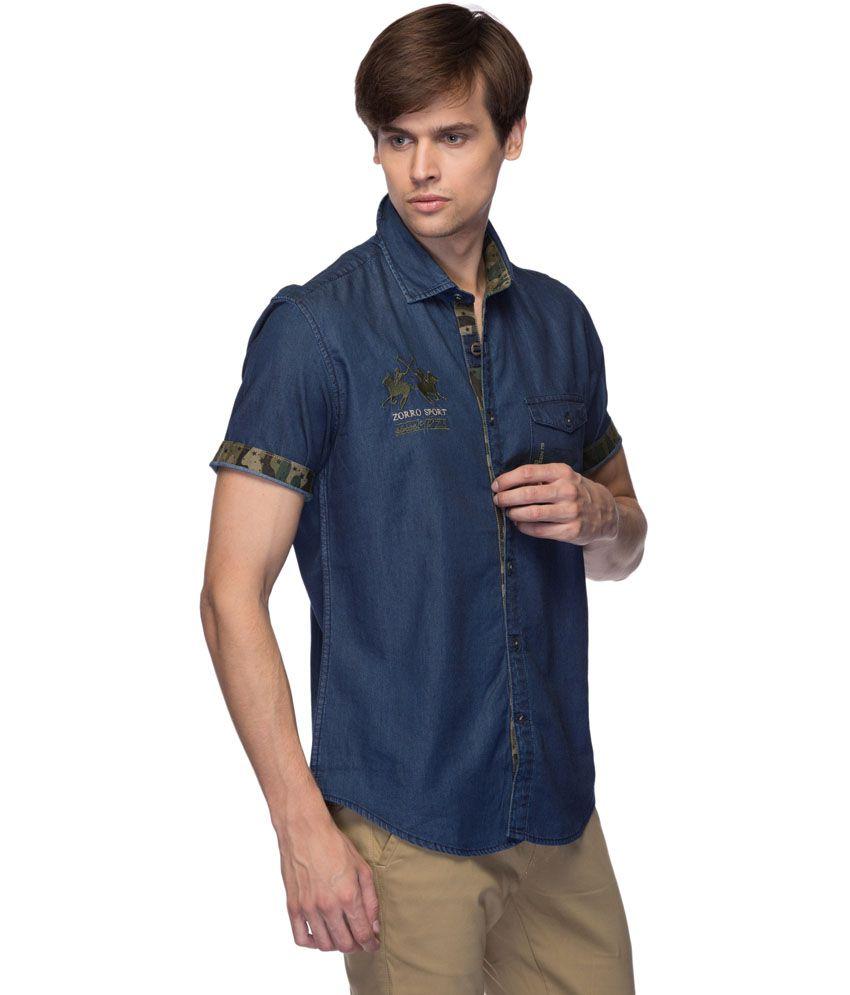 06a81abce4a2 Zorro Blue 100 Percent Cotton Solids Pattern Casuals Shirt - Buy Zorro Blue  100 Percent Cotton Solids Pattern Casuals Shirt Online at Best Prices in  India ...