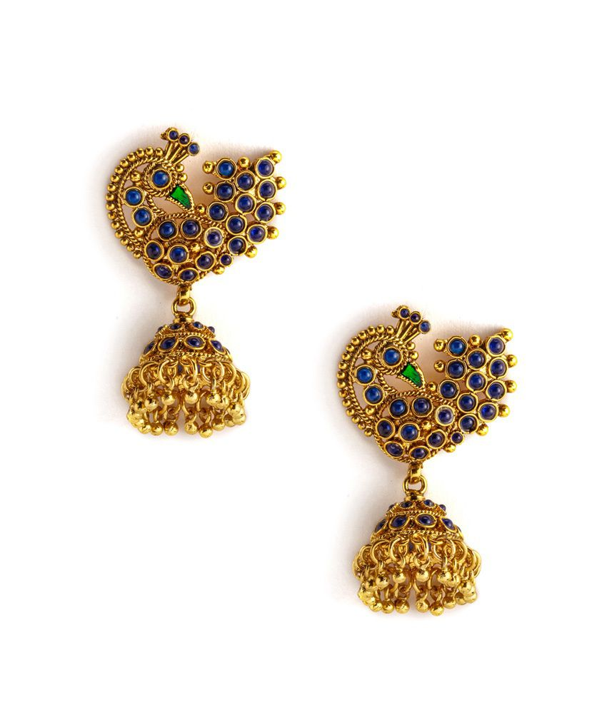 Alankruthi Gold Polki Jhumki Earrings