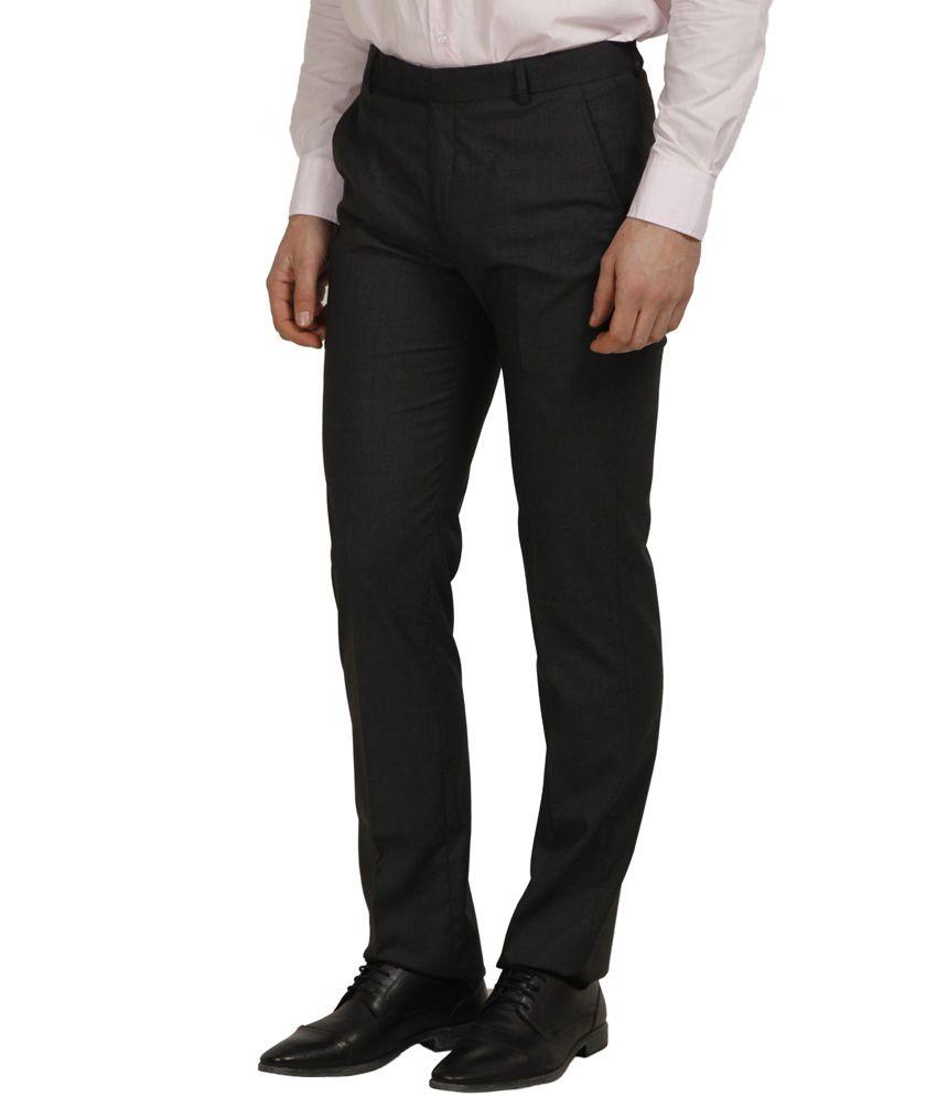 Cantabil Black Poly Viscose Formals Men's Trouser