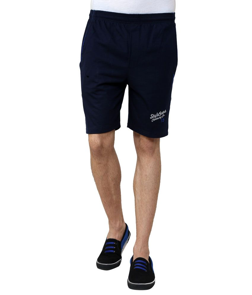 Style Guns Navy Cotton Shorts For Men's