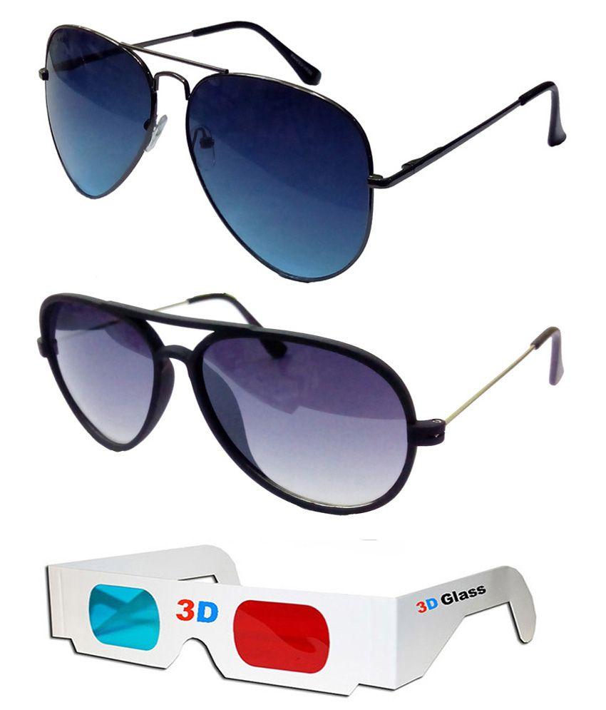 317567e77774 Hrinkar Aviator Sunglasses Black Frame Dark Blue Lens with New Aviator  Brown Frame Brown Lens and 3D Glass - Pack of 3 - Buy Hrinkar Aviator  Sunglasses ...