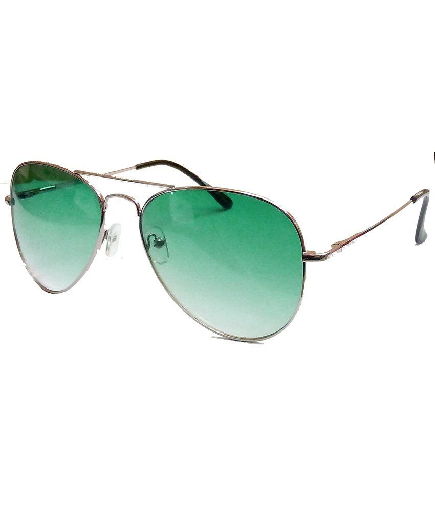Hrinkar Aviator Sunglasses Silver Frame Green Lens with Wayfarer ...