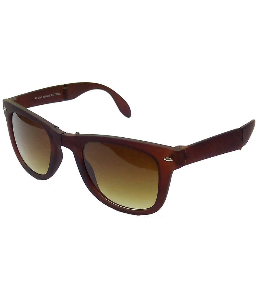 brown wayfarer sunglasses jb93  Hrinkar Foldable Wayfarer Sunglasses Brown Frame Brown Lens with  Wayfarer Black Red Frame Gray Lens and