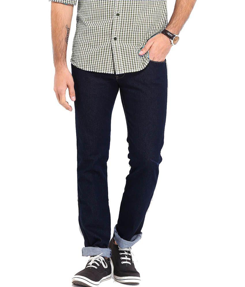 Kafe Navy Cotton Stretchable Slim Jeans