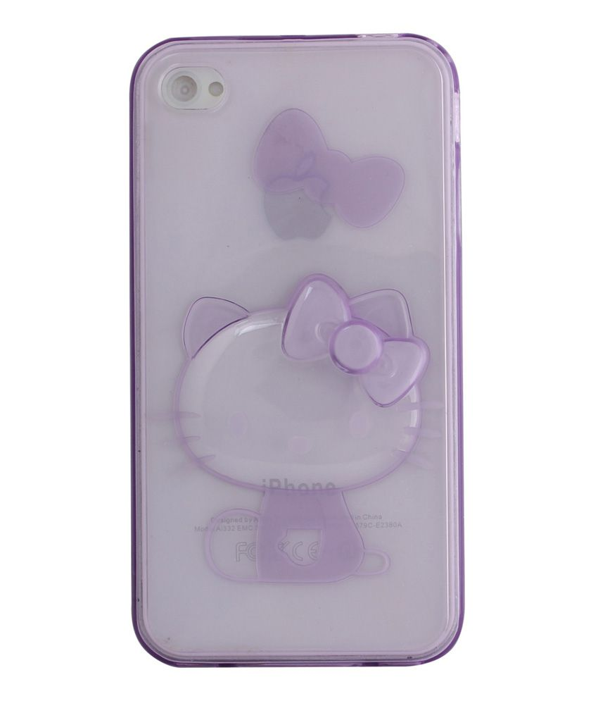 UnicaCase Cartoon Character Transparent Back Cover For Apple Iphone 4/4S-Purple with Cat
