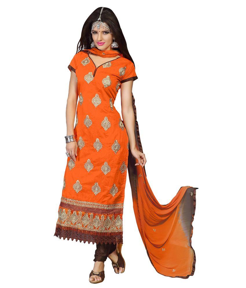 Ceeam Orange Cotton Unstitched Dress Material