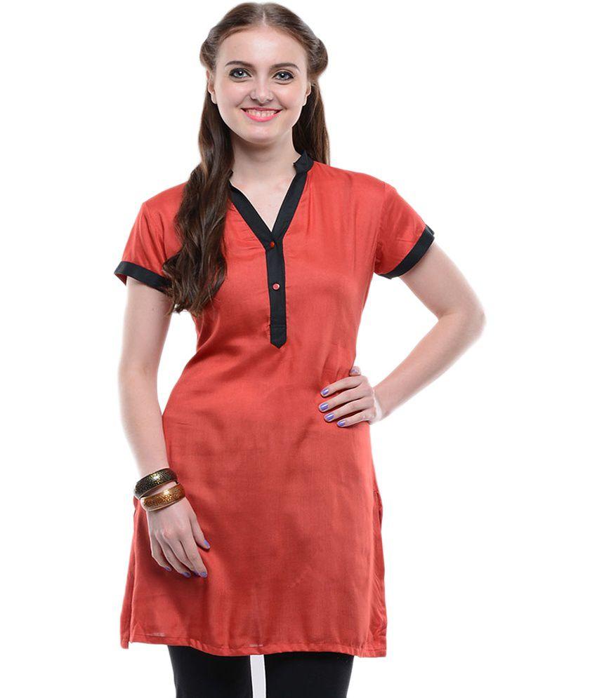 Sritika Red Solid Cotton Half Sleeves Kurti