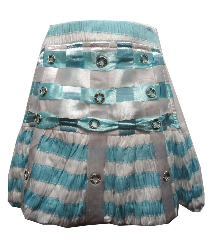 Threads Blue Synthetic Printed Skirt