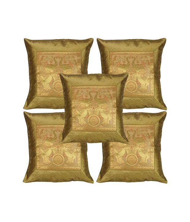 Rajrang  Brocade Border With Designer Patch Cushion Covers - (16 X 16 Inches) (Set of 5 Pcs)