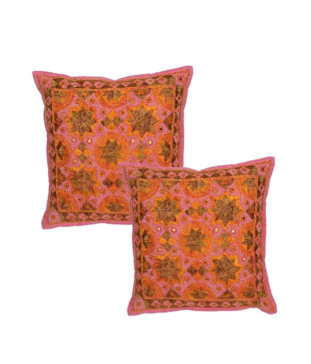 Rajrang Cotton Embroidered With Mirror Work Cushion Covers - (16 X 16 Inches) (Set of 2 Pcs)
