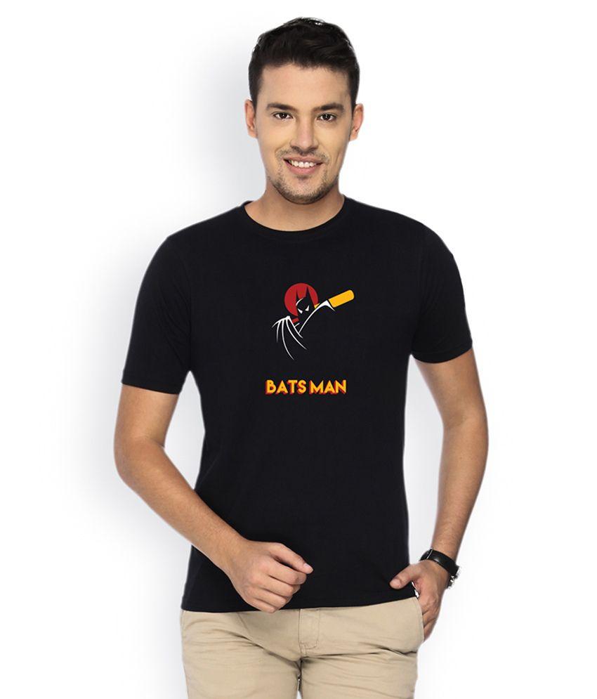 Campus Sutra Black Round Neck Tshirt Batsman