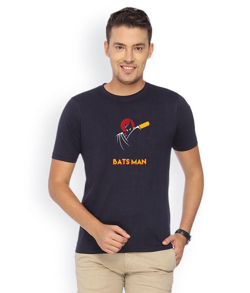Campus Sutra Navy Blue Round Neck Tshirt Batsman