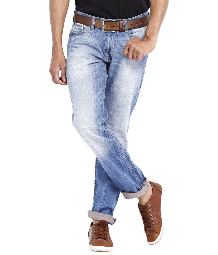 Locomotive Stylish Blue Straight Fit Casual Jeans