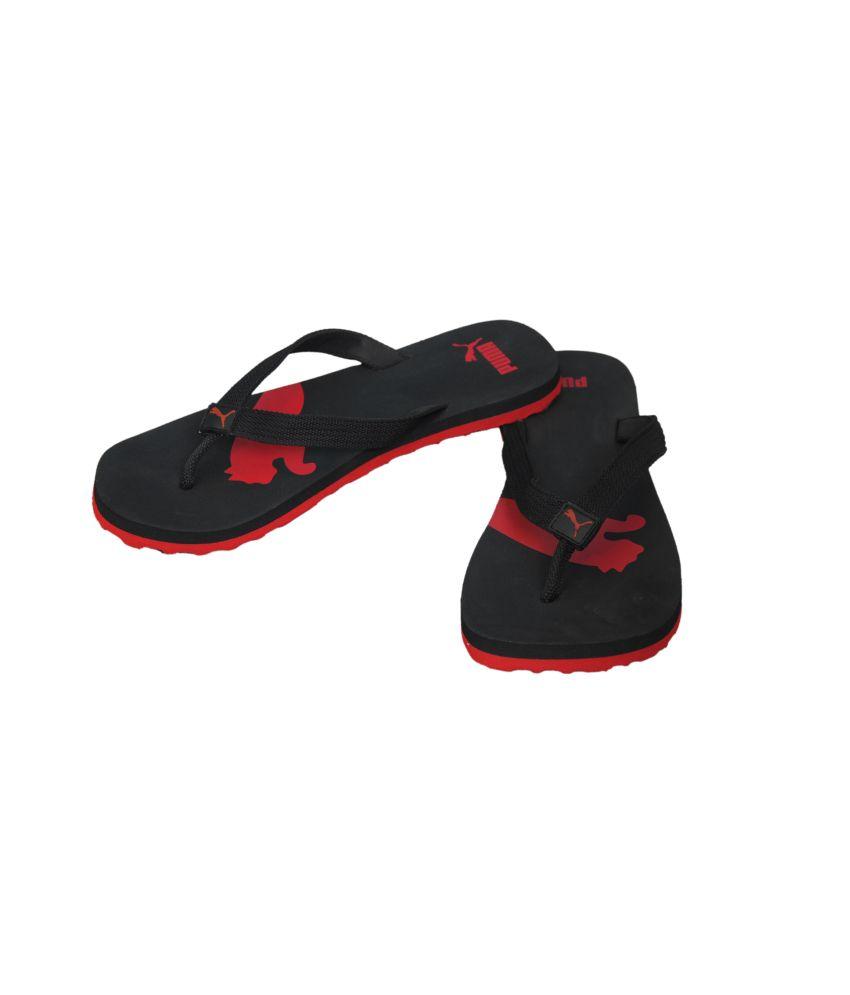 ... Puma Atlanta Red & Black Daily Wear Flip Flops ...