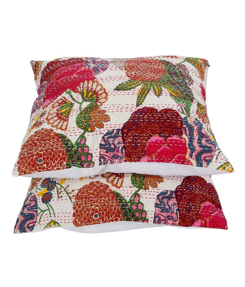 Rajrang  Fruit Print With Kantha Cushion Covers - (18 X 18 Inches) (Set of 2 Pcs)