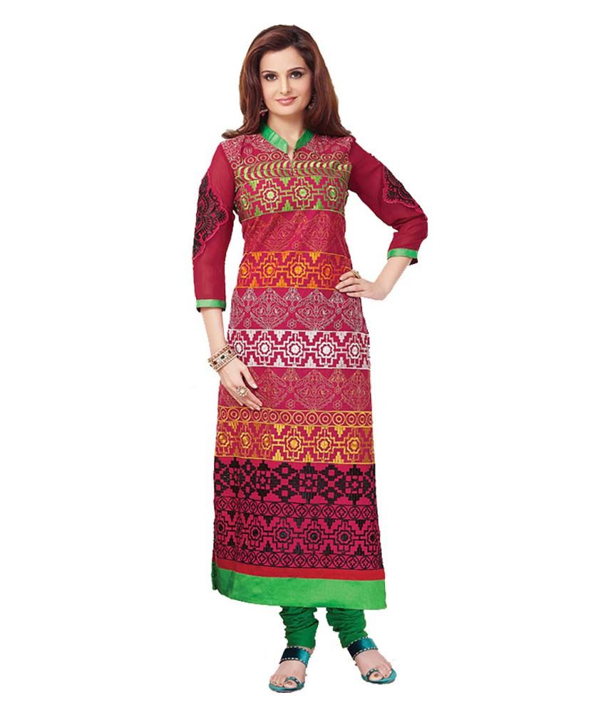 Stylo Fashion Pink Cotton Embroidered Semi Stitched Salwar Suit