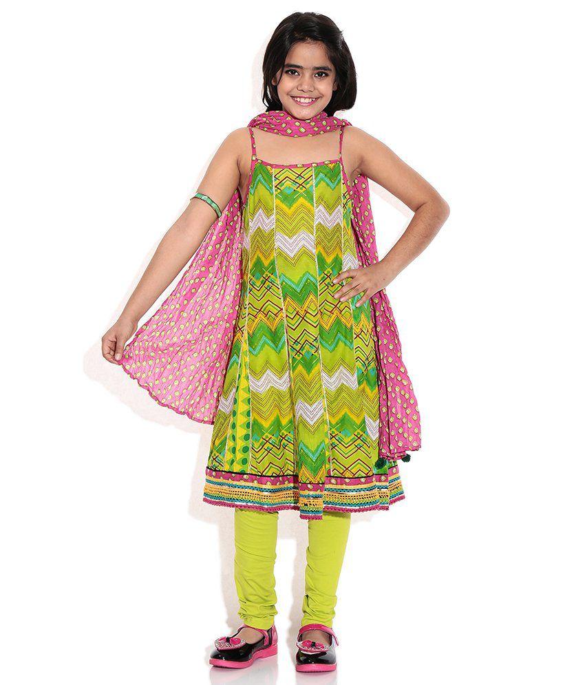 Biba Green Casual Kalidar Sleeve Less Salwar Kameez