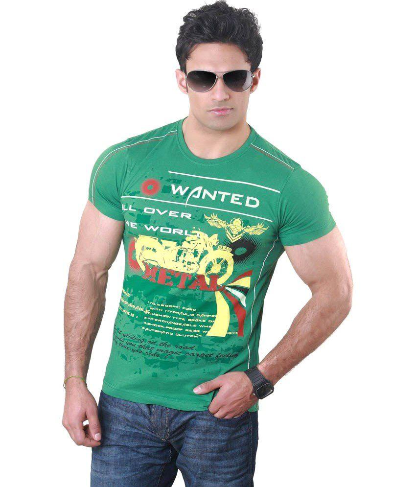Hebe Green Printed Half T Shirt