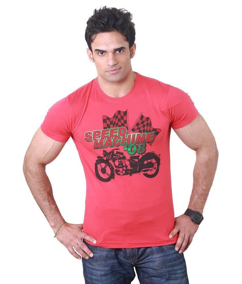 Hebe Red Printed Half T Shirt