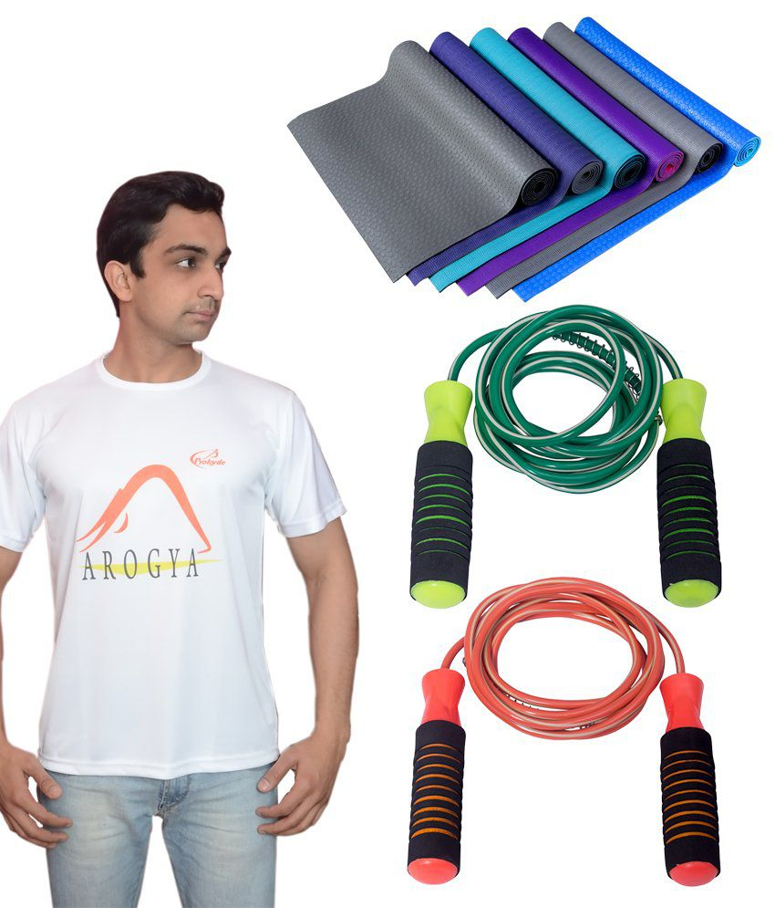 Prokyde Yoga White T-shirt, Skipping Rope And Special Mat Combo