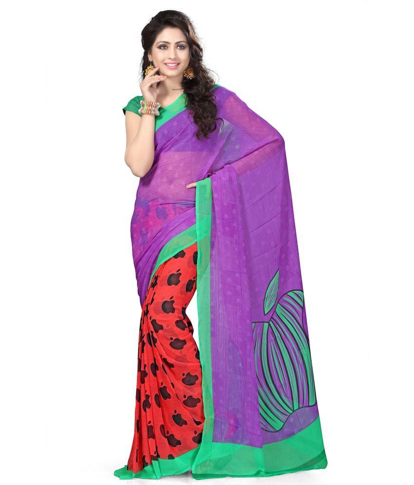 bebda5363c613e Vaamsi Purple Chiffon Saree - Buy Vaamsi Purple Chiffon Saree Online at Low  Price - Snapdeal.com