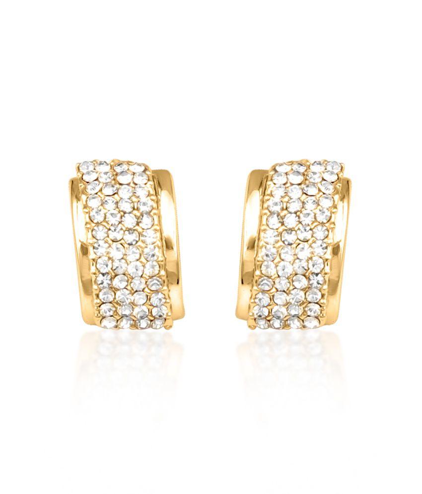 Big Tree 18k Gold Plated Encrusted Diamond Hoop Earring For Women