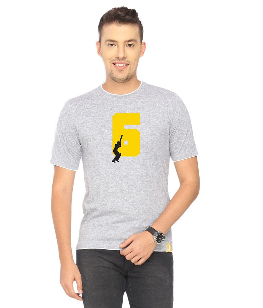 Campus Sutra Gray Six T-shirt