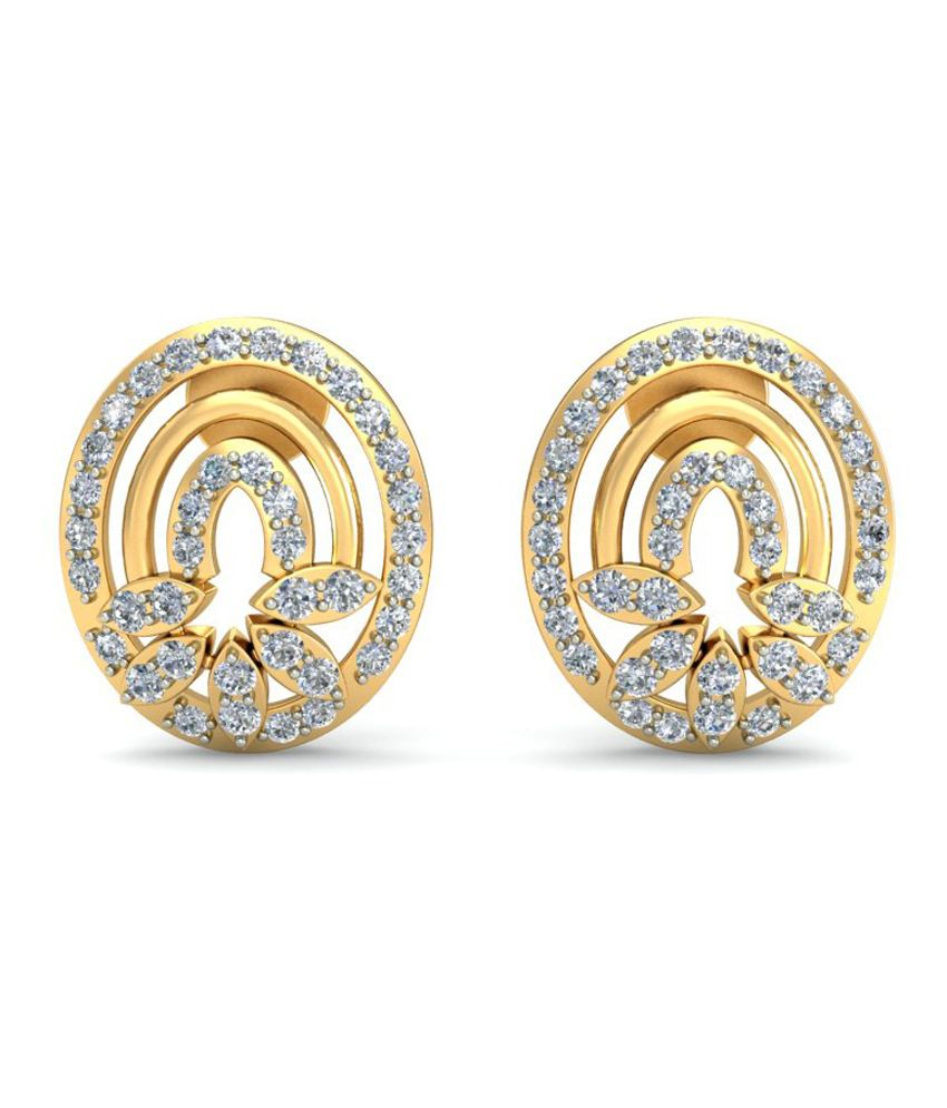 Demira Jewels 18kt Gold And Diamond Lustrous Earring 100%Certified