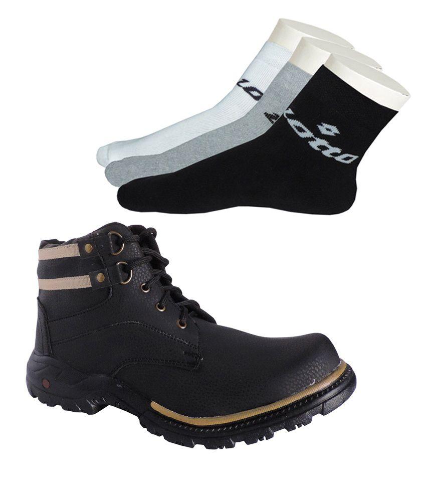 Elligator Stylish Black Boots & Pack Of 3 Lotto Socks