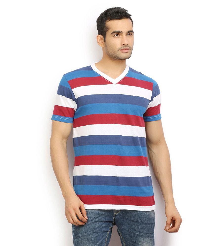 Ethane Mens Blue V Neck T Shirt