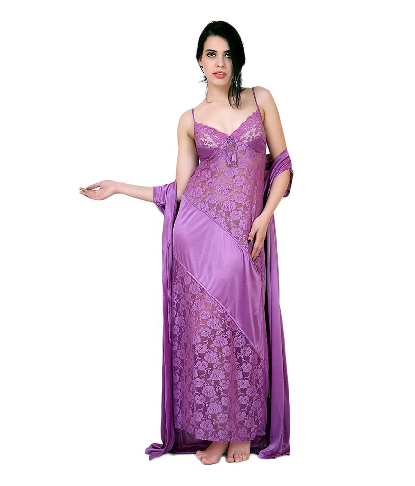 ff02c668ea Buy Farry Purple Net Nighty   Night Gowns Pack of 2 Online at Best Prices  in India - Snapdeal