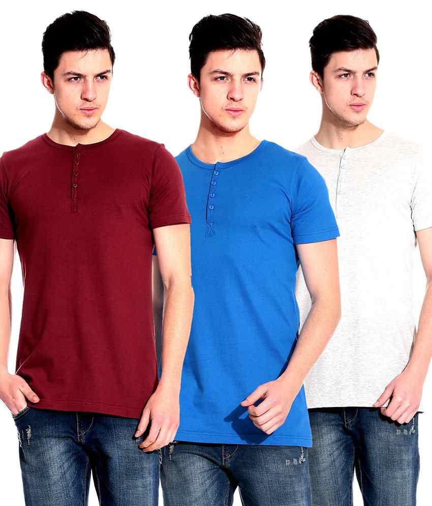 Lemon & Vodka Multicolour Basics Cotton Henley Neck Half Sleeves Men T Shirt