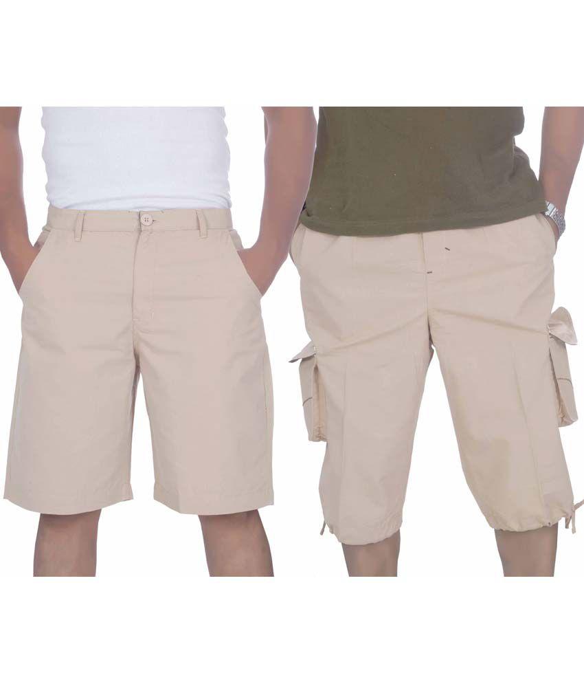 S A True Fashion Multicolour Cotton Solids Men's Short And Three-forth Combo