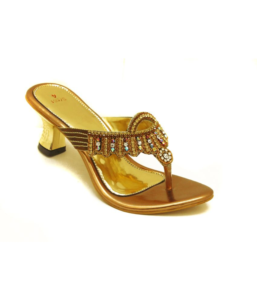 Sahebji Golden Low Heel Partywear Slip On