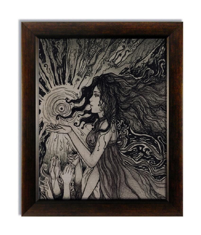 Stybuzz Girl Sketch Frameless Canvas Painting
